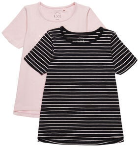 Luca & Lola Malena T-Paita 2-Pack, Black/Pink Stripes