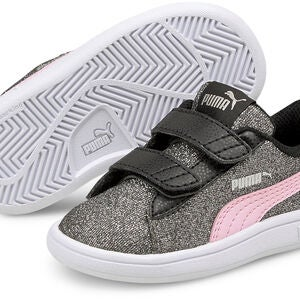 Puma Smash V2 Glitz Glam V INF Tennarit, Black/Pink Lady