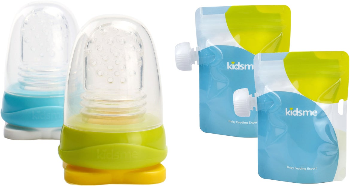 Kidsme Reuseable Food Pouch Annospussit, 8x180ml + Adapteri