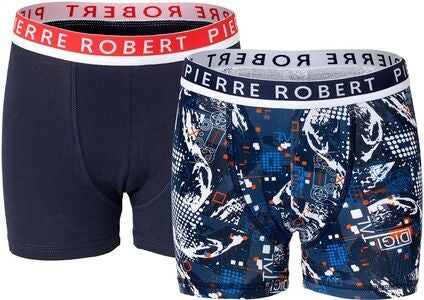 Pierre Robert Young Boxer 2-pack, Navy Orange
