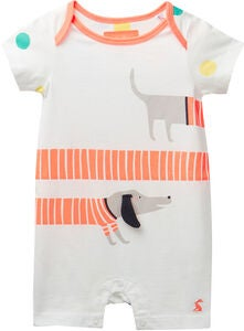Tom Joule Applique Jumpsuit, White Sausage Dogs