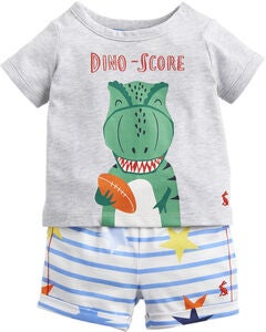 Tom Joule T-Paita & Shortsit, Grey Dino Star Stripe