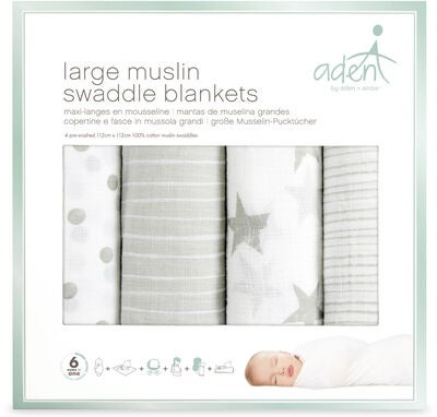 Aden & Anais Musliiniliina Swaddle Blankets 4-Pack