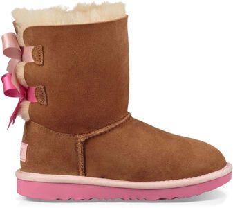 UGG Bailey Bow II Kids Boots, Chestnut/Azalea