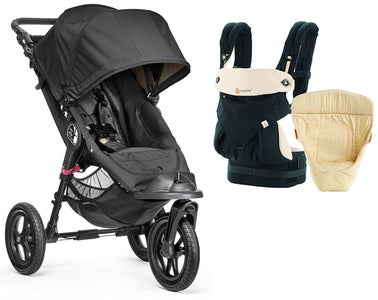 Baby Jogger City Elite Single Lastenrattaat + Ergobaby Easysnug Starttipaketti, Black/Caramel
