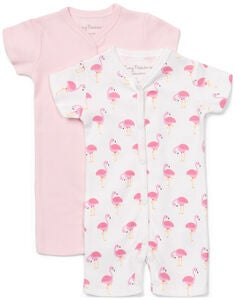 Tiny Treasure Summer Jumpsuitit 2-Pack, White/Flamingo