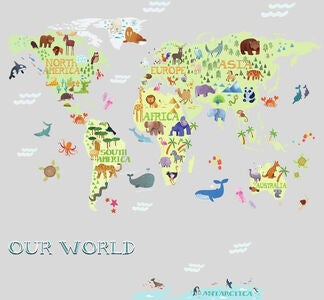 RoomMates Sisustustarrat Kids World Map