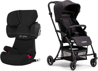 Cybex Solution X2-Fix Silver Line Turvavyöistuin + Moweo Turn Light Lastenrattaat, Black