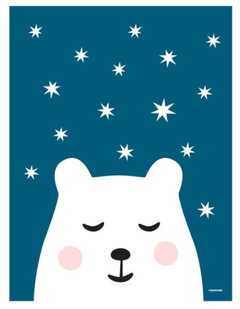 Roommate Bear & Stars Juliste