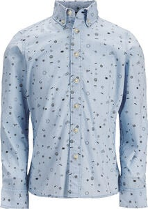 PRODUKT Space Aop Kauluspaita, Chambray Blue