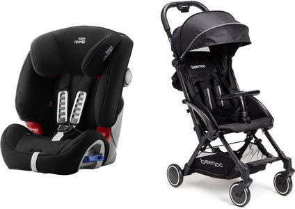 Britax Römer Multi-Tech III Turvaistuin, Cosmos Black + Beemoo Easy Fly Lastenrattaat, Black