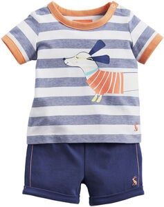 Tom Joule T-Paita & Shortsit, Navy Sausage Dog Stripe