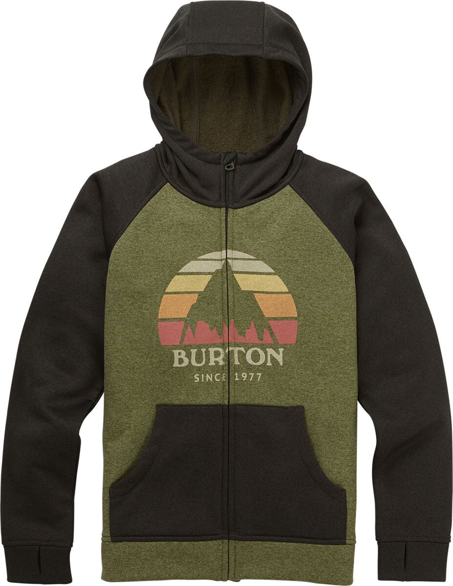 Burton Boys Oak Full-Zip Hoodie Huppari, Clover Heather/Resin Heather