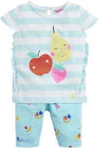 Tom Joule Toppi & Leggingsit Setti, Aqua Stripe Fruit
