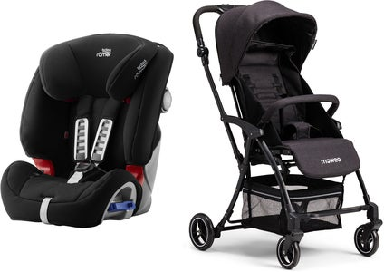 Britax Römer Multi-Tech III Turvaistuin, Cosmos Black + Moweo Turn Light Lastenrattaat, Black