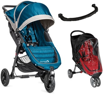 Baby Jogger City Mini GT + Turvakaari ja Sadesuoja, Steel Blue/Grey