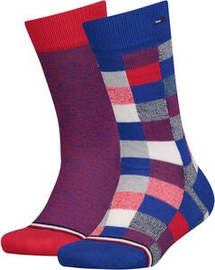 Tommy Hilfiger Blocks Sukat 2-pack, Red/Blue