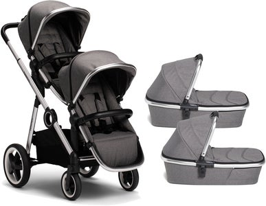 Beemoo Twin Travel+ 2020 Kaksosvaunut, Dark Grey