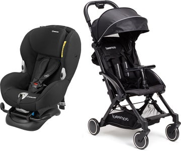 Maxi-Cosi Mobi XP Turvaistuin, Night Black + Beemoo Easy Fly Lastenrattaat, Black