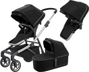Thule Sleek Sisarusvaunut + Vaunukoppa, Midnight Black