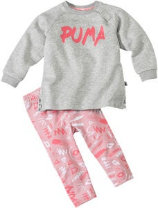 Puma Minicats Girls Aop Paita & Leggingsit, Light Grey Heat
