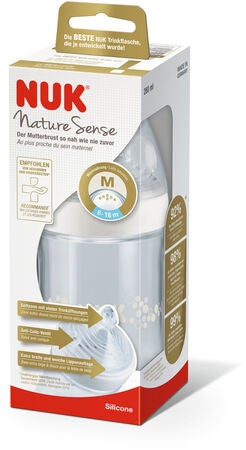 NUK Nature Sense Tuttipullo 260 ml Pullotutti Koko 2 Medium, Vaaleanpunainen