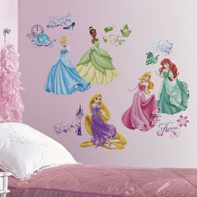 RoomMates Wallstickers Glitter, Disney Prinsessat Royal Debut