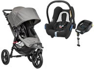 Baby Jogger City Elite Single Lastenrattaat + Maxi-Cosi Cabriofix, Black Grid & Jalusta