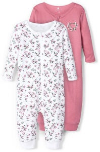 Name it Flower Jumpsuit 2-Pack, Heather Rose