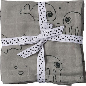 Done By Deer Musliiniliinat Sea Friends 70x70 2-pack, Grey