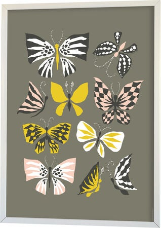 Littlephant Juliste Graphic Print Butterfly Family 50x70, Grey
