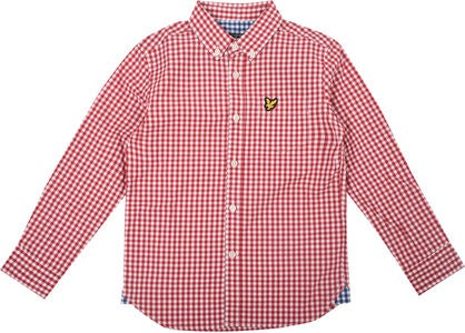 Lyle & Scott Junior Gingham Check Kauluspaita, Royal Red