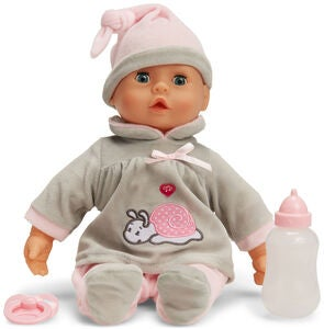 Cloudberry Castle Nukke First Words Baby 38 cm, Harmaa