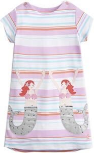 Tom Joule Applique Mekko, Cream Multi Stripe Mermaid